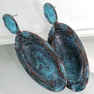 New! Patina Bronze & Turquoise Oval Earrings